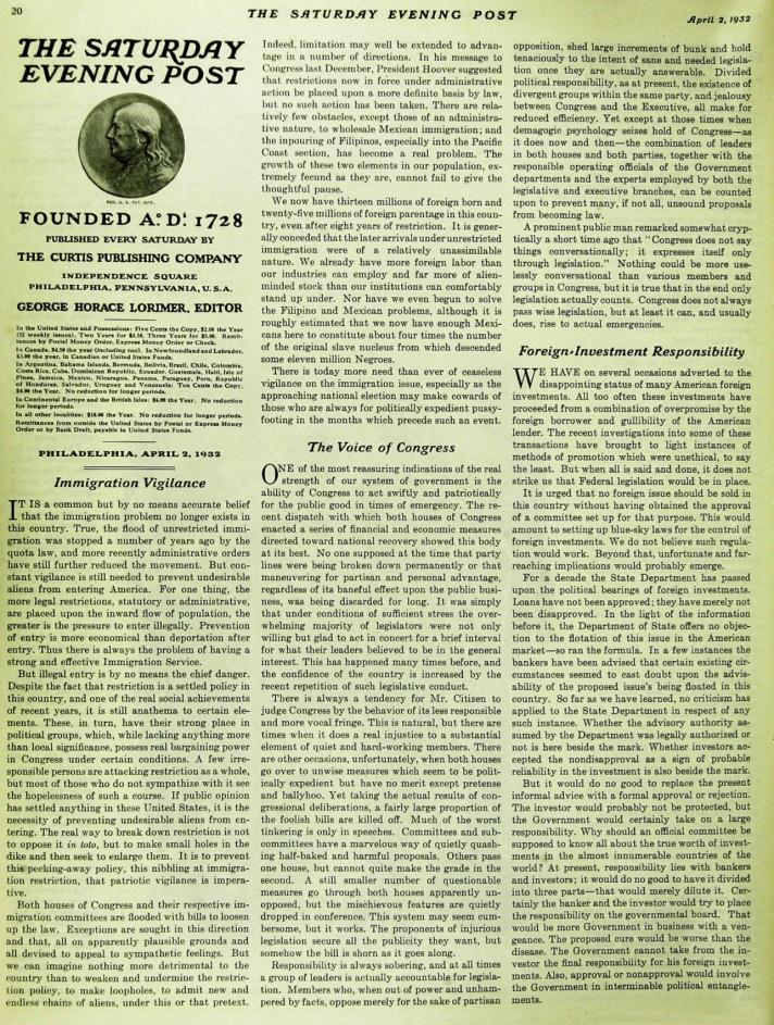 1932 Saturday Evening Post Editorial